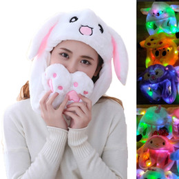 funny adult cartoons NZ - Rabbit Ear Hat Kawaii Funny Hand Pinching Airbag Long Ear Cap Glow in The Night Cartoon Plush Moving Toy Hat Gifts for Girls Y200102