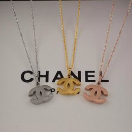 Wholesale New Arrival Price girls brand engrave letter pendant necklace K Gold silver rose L stainless steel Women summer
