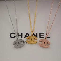 DiamonD ring necklace set online shopping - New Arrival Price girls brand engrave letter pendant necklace K Gold silver rose L stainless steel Women summer