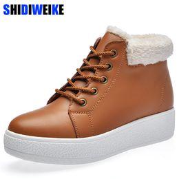 Black Platform Snow Boots Australia - 2019 New British Style Shoes Woman Ankle Boots Winter Platform Leather Shoes Woman Warm Snow Boots Autumn Waterproof Plush Boots