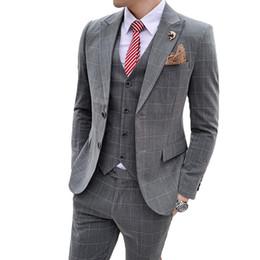 Suits Blazers Pattern Australia - Men Spring Plaid Pattern Slim Suit Three-piece Blazer Suit Jacket Vest Trousers High-end Banquet British Wind Dress Men Suits