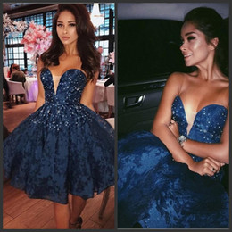 Woman royal blue knee length dress online shopping - Dark Blue Homecoming Dresses Sexy V Neck Lace Appliques Beads Women Formal Evening Dresses Knee Length Ball Gowns Elegant Prom Dresses