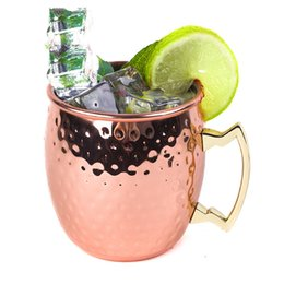 Wholesale 2styles Cocktail Copper Mug Stainless Steel Beer Cup Moscow Mule Mug Rose Gold Hammered Copper Plated Drinkware YYP110