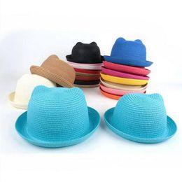 White Black Hats For Kids Australia - Straw Hats Kids Character Ear Decoration Summer Cap Baby Sun Hat For Girl Boys Bucket Cap For Children Hat Beach Panama Caps