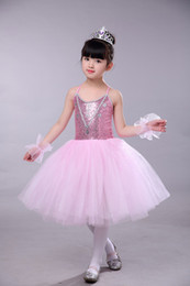 Long Pink Tutu Australia - Pink Blue Romantic Tutu Ballerina Dress Kids Girl Sequin Leotard with Skirt Long Ballet Dress for Child Birthday Party Costume