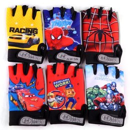 leather cycle gloves half finger NZ - xmRld Children's Bicycle and tactical gloves half-finger outdoor cycling sports anti-skid cartoon five-finger pointed gloves men's and women