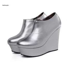 $enCountryForm.capitalKeyWord Australia - Wholesale Shoes Woman Boots Patent Leather Wedge Ankle Boots High Heels Women Shoes Autumn Winter Boots Large Size Ladies Booties Inner Zip