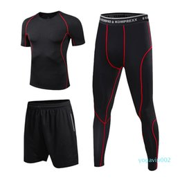 working t shirt Canada - 2020 Men Fitness Sport Sports Set With Compression T-shirt Loose Fitting Shorts Tight Leggings Pants For Gym Yoga Running Work Out