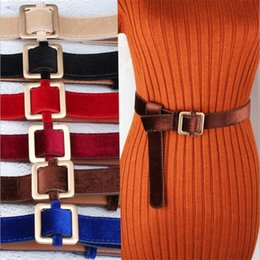 Dresses Apparel Australia - Fashion Designer Simple Metal Buckle Belt Women's Wedding Long Dress Velvet Sweater Waist Belts Waistband Apparel Accessories