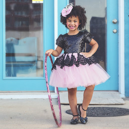 Pageant Sequin Ball Gown For Kids NZ - Princess Dress for Baby Girl Toddler Kid Ball Gown Lace Sequin Knot Tutu Dress Party Wedding Pageant Outfit Children Clothes