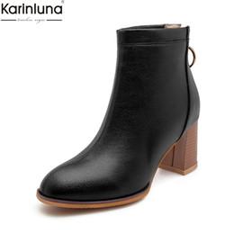 ElEgant bEigE shoEs online shopping - KARINLUNA new arrivals dropship plus sizes Ankle Boots Woman Shoes Fashion high heel women shoes elegant black white boots