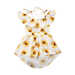 $enCountryForm.capitalKeyWord UK - Summer Kids Girls Princess Dress Fashion Baby Girl Clothes Sunflower Print Off Shoulder Romper Dress Sleeveless Jumpsuit Dresses
