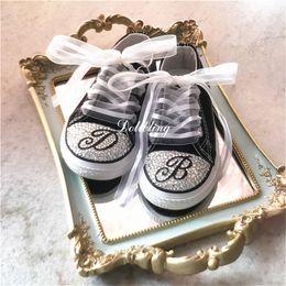 $enCountryForm.capitalKeyWord Australia - Handmade Custom Letter Watermelon Bling Rhinestone Baby Canvas Sneakers Shoes Breathable Designer Children Boys Girls low top Shoes