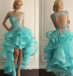 $enCountryForm.capitalKeyWord UK - 2019 New Appliqued Organza Prom Dress Newly Special Lace Tank Activity Vestido Sexy High-Low V-Neck Dancing Party Dress