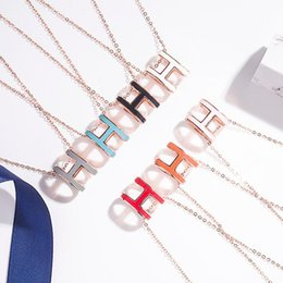 925 Sterling silver pendant necklace with enamel H shape necklace in many colors 50cm length H words for man and women jewelry on Sale