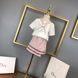 Shirt Customization Australia - 2019 Girls summer unicorn outfits short sleeve T shirt lace skirt cute toddlers kids cloths College Style of Original Single Customization
