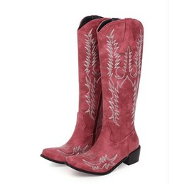 plush embroidery Australia - Plus size 32 to 42 to 48 ethnic embroidery knee high cowboy boots chunky heel boots 5cm brown red black
