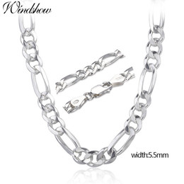 """$enCountryForm.capitalKeyWord Australia - 20-24"""" Pure Real 925 Sterling Silver Figaro Chains Necklaces Women Men Jewelry Boy Friend Gift 50cm-60cm 5.5mm Colier Wholesale C18122501"""