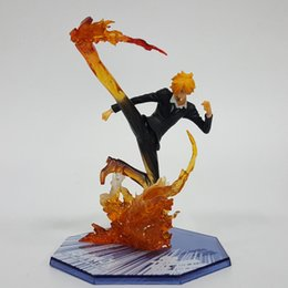 sanji figure one piece UK - One Piece Action Figures Sanji Fire Foot Model Toy 160mm PVC Toys One Piece Anime Sanji Japanese Anime Figure Y200421