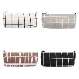 Bags Schools NZ - 2018 New Canvas Pencil Case School Pencil Bag Simple Striped Grid Pencilcase For School