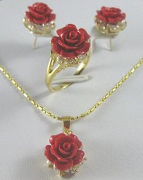 $enCountryForm.capitalKeyWord Australia - fine quality jewelry wholesale good beautiful 12MM red Coral Carved Flower Earrings Ring Necklace Pendant 5.31 silver-jewelry