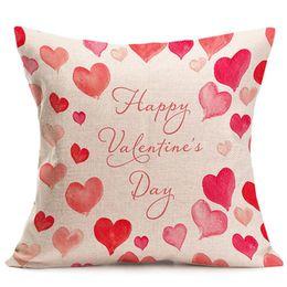 Discount couple case design - 45*45cm Coffee Shop Pillow Cover Home Sofa Pillow Case Couple Single-sided Printing Pink Sweet Linen Pillowcase Customiz