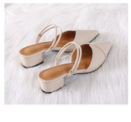 Black Blocks Australia - Party Chic Women Mules Slipper Pointed Toe Block Strap Closed Shallow High Heels Shoes Sandals 2019 Black Beige Korean Pumps