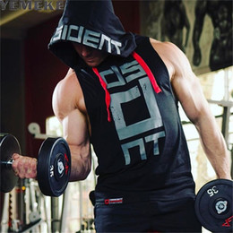 Mens Black Red Tank Top Australia - Yemeke Cotton Tank Tops Hoodie Fitness Mens Bodybuilding Workout Tee Fashion Muscle Male Activewear Red Black White C190420