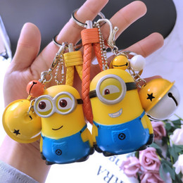woman plush toy boy NZ - Despicable Me Cartoon Minions Keychain Bells Bag Pendant Boys Girls Kids Toys Keychain Leather Strap Metal Car Key Ring Cute Chaveiro
