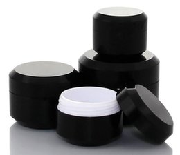glitter pots UK - 50pcs Black Round Cream Bottle Jars Pot Container Empty Cosmetic Plastic Sample Box For Nail Art Gel Glitter Storage
