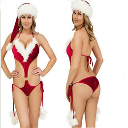 Three poinT lingerie online shopping - Sexy Lingerie bikini intimo donna Sexy Red Christmas Hat Conjoined Christmas Lingerie Three Point Sets Passion Lingeries