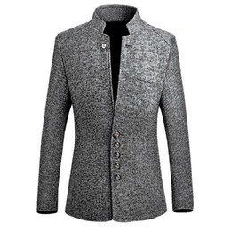 Chinese Casual Jacket NZ - Blazer Men 2019 Spring New Chinese Style Business Casual Stand Collar Male Blazer Slim Fit Mens Blazer Jacket Size M-5xl