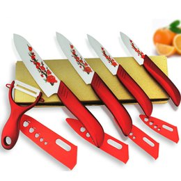 "pc knife set Australia - Ceramic Knives Set 5 pcs China Red Style Kitchen Knives with Fruit Peeler 3"" 4"" 5"" 6"" inch with Flower Printed+ Peeler+Covers"