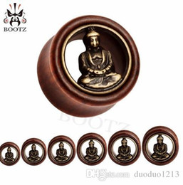 $enCountryForm.capitalKeyWord Australia - 60pcs lot hot sale free shipping red wood ear gauges plugs piercing tunnel body jewelry wholesale buddha design 12-30mm