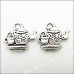 Wholesale Pendant Sets NZ - 400 pcs Vintage Charms Tea set Pendant Antique silver Fit Bracelets Necklace DIY Metal Jewelry Making