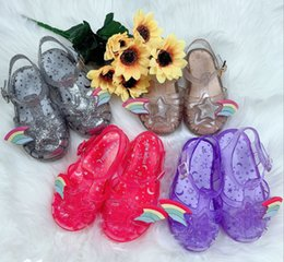 Jelly shoes transparent flats online shopping - Melissa jelly shoes children sequins stars sandals girls colorful hollow princess sandals kids transparent crystal beach sandals F5282