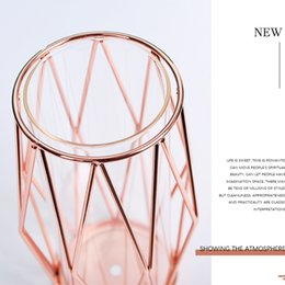 wrought iron home decor UK - Nordic Style Holder Glass Hydroponic T191016 Flower Glass Decor Tube Clear Container Iron Vase Flowerpot Wrought Bottle Home Test Vase Nksk