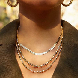 jewelry fashion bead necklaces NZ - Flat bone Snake Wide Collares Necklaces Women Fashion Bead Chain Statement Choker Necklace female jewelry