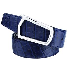 $enCountryForm.capitalKeyWord UK - Men's Genuine Leather Crocodile Belt with Personalized Buckle Formal Male Designer Blue Waist Belts