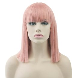 $enCountryForm.capitalKeyWord Australia - adjustable Select color and style 1pc Synthetic Straight Short About 35cm Color: Red Gray Light blue pink Black White Blonde Colorful Wigs