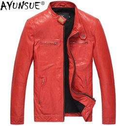 Genuine Motorcycle Jackets Australia - AYUNSUE Men's Sheepskin Leather Jacket Short Biker Vintage Genuine Leather Jacket Men Motorcycle Slim Fit DK106 KJ2430