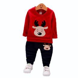 Toddler Deer Australia - Spring Autumn Children Boy Girl Clothing Suits Baby Fashion T-shirt Pants 2Pcs Sets Kids Cartoon Deer Clothes Toddler Tracksuit