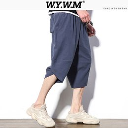 Wholesale cropped joggers resale online - Wywm Man New Spring Joggers Streetwear Mens Solid Cropped Pants Casual Pants Harem Male Korean Simple Pocket
