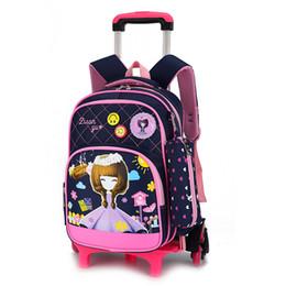655db0b73e3f Children Wheeled Backpacks UK - Removable Children Trolley scholbag 6  Wheels bags Princess backpack Girls Children