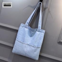 cowboy shoulder bag 2019 - Reusable Shopping Bag Korean Denim Fabric Canvas Tote Bag Large Capacity Travel Shoulder Shopper Blue Student Cowboy Han