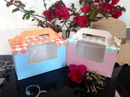 Cupcake Blue Australia - 100 X Blue&Pink Portable Cupcake Boxes Containers With PVC Window Cardboard Insert-2 Holders