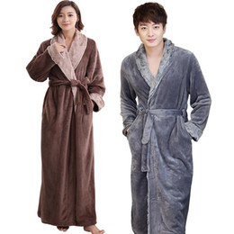 long warm robes Australia - Lovers Soft fur Extra Long Thermal Bathrobe Men Plus Size Thick Flannel Warm Kimono Bath Robe Male Dressing Gown Winter Robes