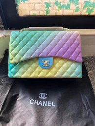rainbow crosses UK - Hot designer high quality rainbow checked paris leather shoulder ladies handbag classic chain messenger bag wallet