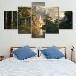 $enCountryForm.capitalKeyWord Australia - Canvas Paintings Wall Art Prints Framework 5 Pieces Castle In The Mountains Pictures Lord Of The Rings Posters Living Room Decor