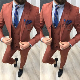Three Piece Suit Styles Australia - 2019 Groom Tuxedos Groomsman Suit Italian Style Three Piece Wedding Prom Party Suits For Men Bridegroom Suit(Jacket+Vest+Pants)